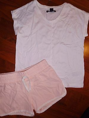 SZ 6 7 GAP KIDS 2pc White Top Peach Sweat Shorts New Outfit Girl NWT