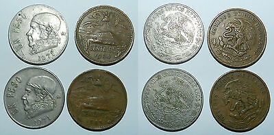 MEXICO : LOT OF 4 OLD COINS - Peso & Centavos