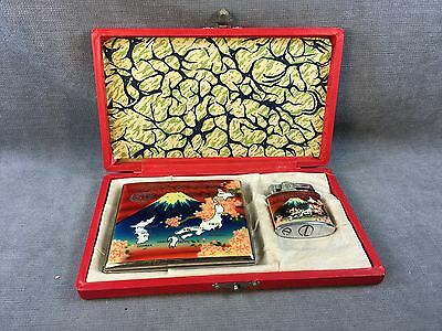 Vintage Memory Of Japan And Korea Cigarette Lighter And Case In original box!