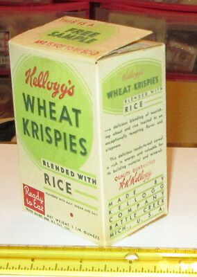 Old Vintage Kellogg's Wheat Rice Krispies Cereal 1935 Sample Cereal Box 1 1/4 Oz