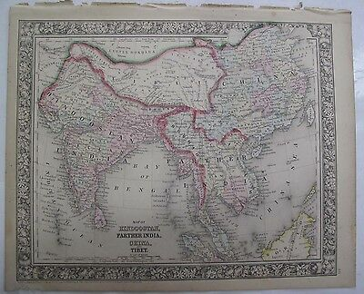 1864 Mitchells Atlas Hand Colored Map Farther India Hindoostan China Tibet