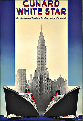 Art Ad Cunard  White Star New York Travel  Deco  Poster Print