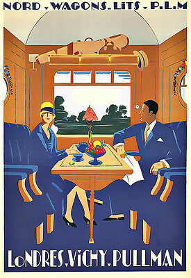 Art Ad Nord Wagons Lits  PLM Railway  Travel  Deco   Poster Print