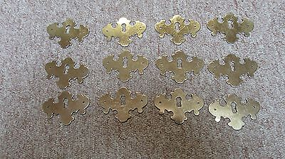 Lot of 12 Vintage Brass Key Hold Face Plate Cover