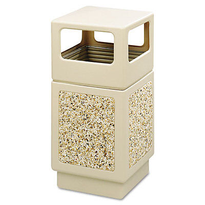 Safeco Canmeleon Side-Open Receptacle, Square, 38 gal, Tan SAF9472TN