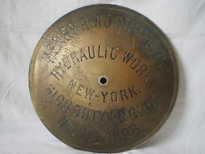 Antique 1898 Henry R Worthington Hydraulic Works New York High Duty Engine Plate
