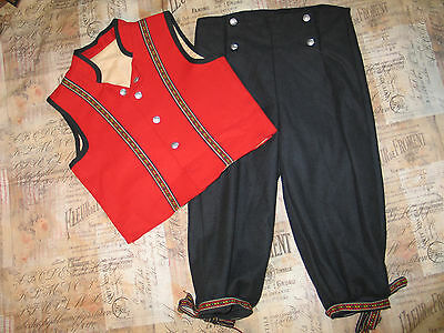 VTG 10YR BOYS NORWEGIAN FLAG RED FESTDRAKT BUNAD FROM NORWAY Folk Costume