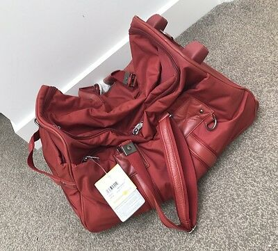 MANDARINA DUCK Knock Business Red Overnight Bag with Wheels **NEW**