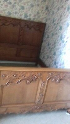 Antique Carved French 3/4Ft Wide Beautifully Carved Bed From Normandy