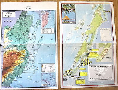2 Lot Belize Central America Wall Maps
