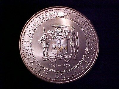 Jamaica $10 Dollars Silver 1972 Gem Bu 10Th Anniversary Independence 1.4 Ounce