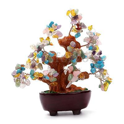 170mm Chinese Feng Shui Natural Colourful Crystal Money wealth Lucky Luck Tree