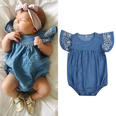Fashion Newborn Baby Girl Denim Romper Jumpsuit Bodysuit Outfits Sunsuit Clothes