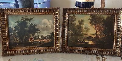 Vintage Pair Wooden Silk Framed