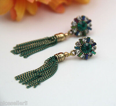 BOHO Fashion Green Crystal Ear Drop Dangle Stud long Ancient Silver Earrings 271