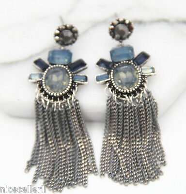 BOHO Fashion Brown Crystal Ear Drop Dangle Stud long Ancient Silver Earrings 274