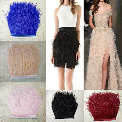 1 Yard Neotrims Ostrich Feather Quality Satin Ribbon Trimming Fringe 13-15cm