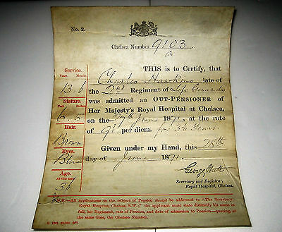 1871 Original 2nd REGIMENT LIFE GUARDS Document HM CHELSEA ROYAL HOSPITAL