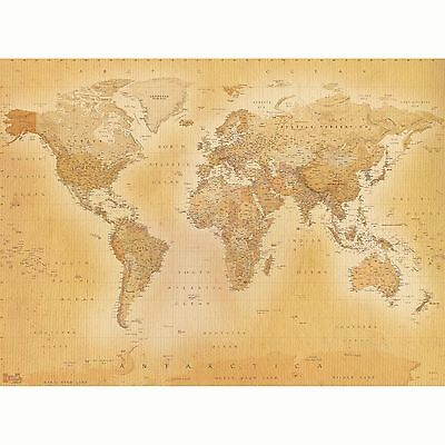 VINTAGE WORLD MAP WALLPAPER WALL MURAL 2.32m x 3.15m NEW ROOM DECOR