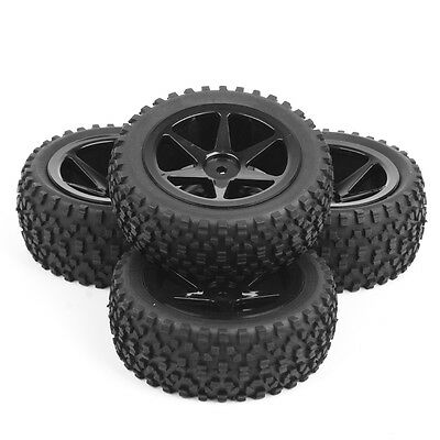 4 Pcs 1/10 Off-Road Front&Rear Tyre Tires Wheel Rim 25036+27011 For Buggy Car RC