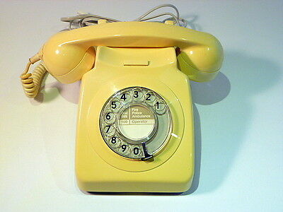 Vintage Telephone Gpo 746 Rotary Dial Ivory Tested & Converted Rj45 Plug Vgc