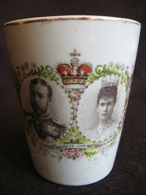 ANTIQUE CORONATION BEAKER for KING GEORGE V & QUEEN MARY Liversedge UDC 1911 A/F