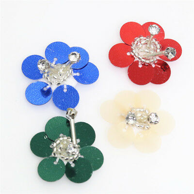 handmade sequins beads tube single layer flower clothes applique sew on 5pc H144