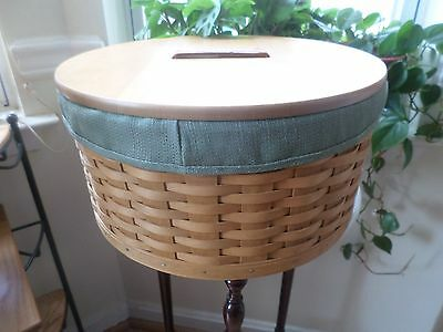 Longaberger  Hostess Rare Hat Box With Wood Lid And Sage Liner Protector