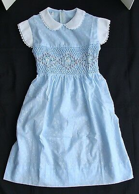 Vintage Girls Hand Smocked Blue Dress by Polly Flinders Size 8
