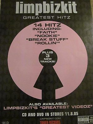 Limp Bizkit, Greatest Hits, Full Page Vintage Promotional Ad
