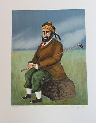 Guy Buffet Lithograph Hand Signed Numbered Limited Scotch On The Rocks / Golf