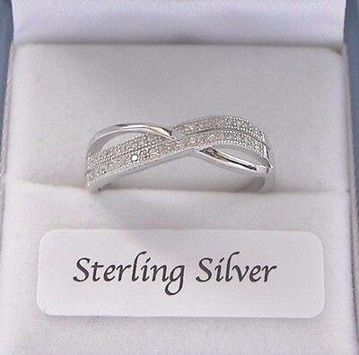 925 Sterling Silver Kiss Cross Weave Created Diamond Ring Gift Boxed made in UK