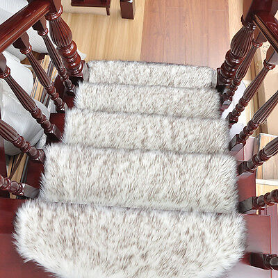 Chic Stair Mat Fluffy Mute Stair Treads Carpet Home Flooring Step Rug Pad 1PC