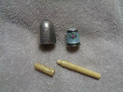Silver & Guilloche Enamel Sewing Thimble Moonstone Glass Top & Needle Case