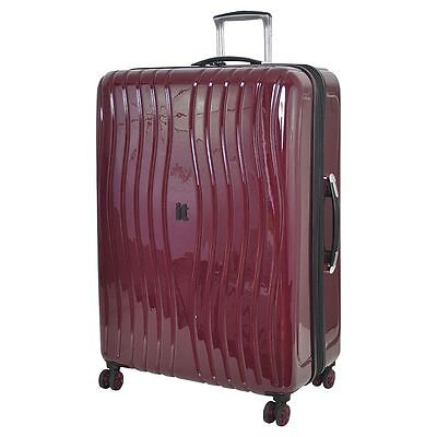 NEW IT Luggage Gloss 8-Wheel Hard Shell Zinfandel Suitcase Large - Purple