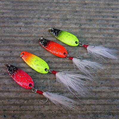 5PCS Fishing Fish Lure Spoons Spoon Feather Hook Bass baits 5g