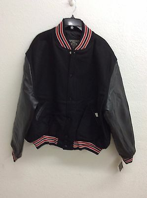 Holloway Varsity Letterman Jacket  - Black/Red/White - Size 2 X Large //gh