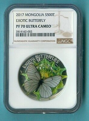 Mongolia 2017 Exotic Butterfly 500 Togrog 3D Ngc Pf-70 All Pckg Inc