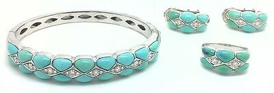 NATURAL TURQUOISE & DIAMONDS Elegant 18k White Gold RING, BANGLE, EARRINGS SET