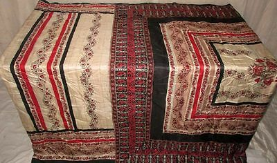 Cream Black Pure Silk 4 yard Vintage Sari Saree Americas Tablerunner Deal #EJZ7N