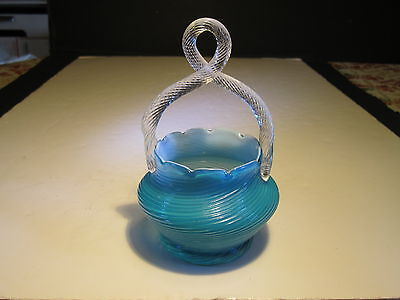 Petite Old Antique Blue Swirl With Crystal Twisted Handled Art Glass Basket
