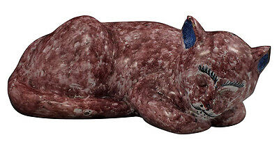 Signed Emile Galle French Art Pottery Sleeping Cat Statue Figurine