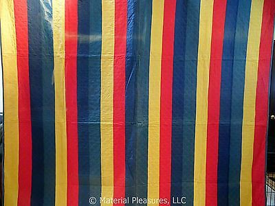 Antique Quilt c1900 Bars Quilt - Red Yellow Blue Teal - Clamshell Hand Quilting