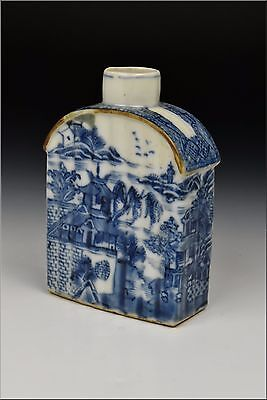 18th Century Chinese Export Porcelain Tea Caddy w/ Scenic Views