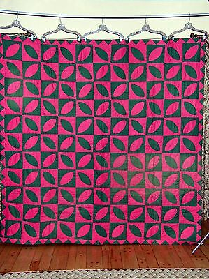 Antique 1900s Orange Peel Quilt  in Pink and Green
