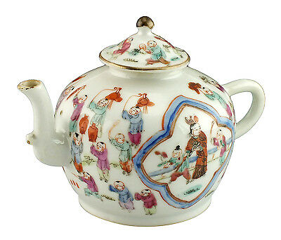 Rare 18thC Antique Chinese Famille Rose Teapot w/ Procession of Children