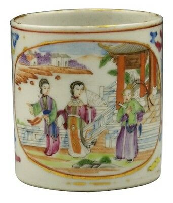 18th C Chinese Handled Cup or Mug w/ Dragons & Character Scene