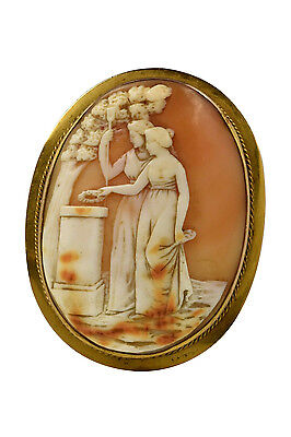 Large Victorian Antique Carved Cameo Brooch w/ Mourning Scene in Gold Frame