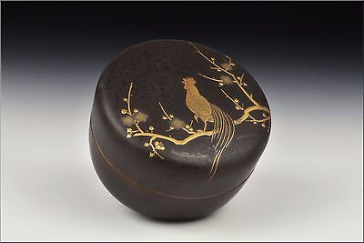 Artist Signed Japanese Meiji Period Covered Box w/ Rooster Scene