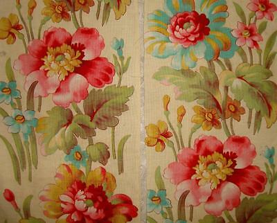 2 BEAUTIFUL FRAGMENTS 19th CENTURY c1870s FLORAL BORDER, DAFFODILS & FLORALS